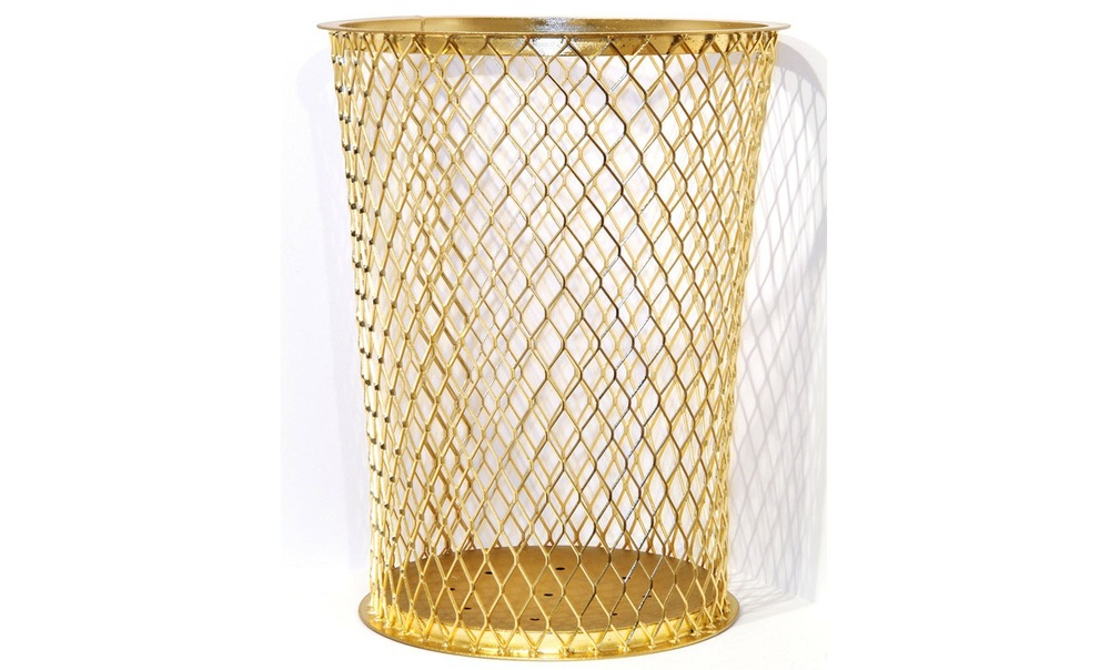 Beyer projects news sylvie fleury 39 s yes to all gold for Gold bathroom wastebasket