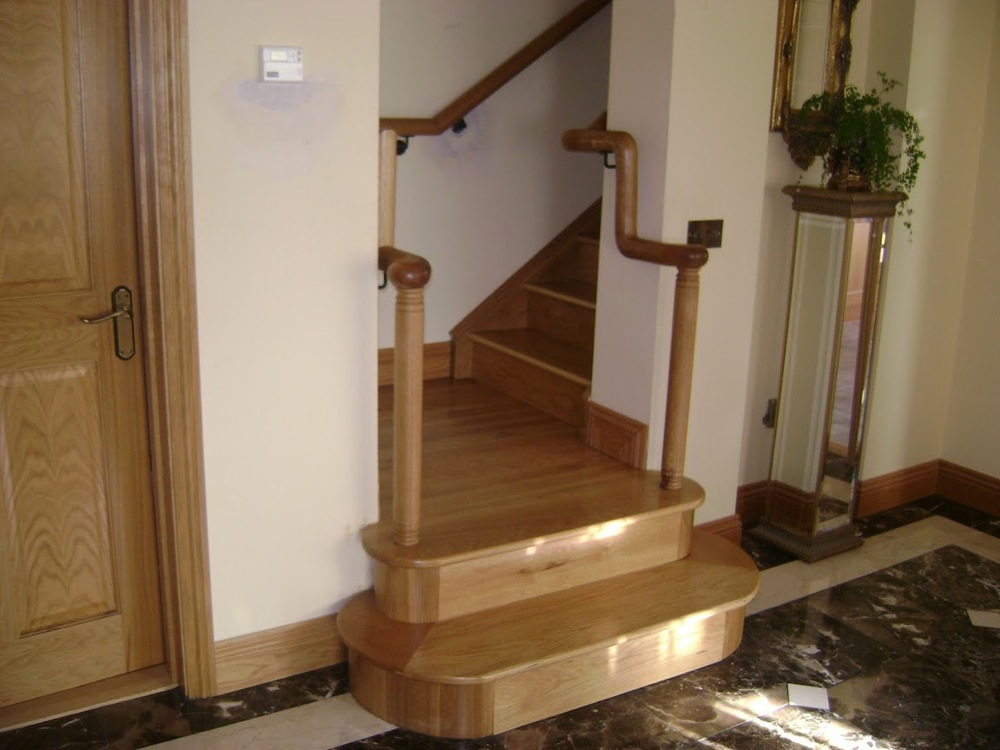 White Oak Contemporary Stairs With Circular Carved / Continous Handrails  Ref. ST5u0026nbsp;