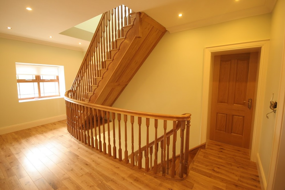 High Quality White Oak Cut String Stairs With Curved Handrail To Well. Ref. ST1u0026nbsp;
