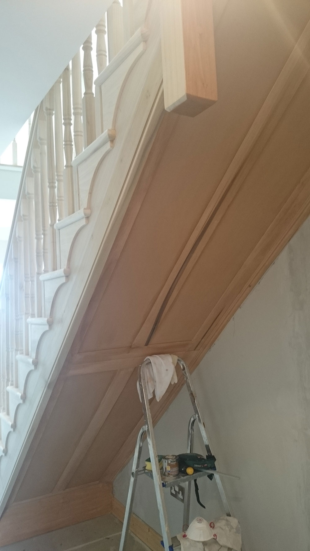 Solid Shaker Panelling To Underside Of Stair Carrage