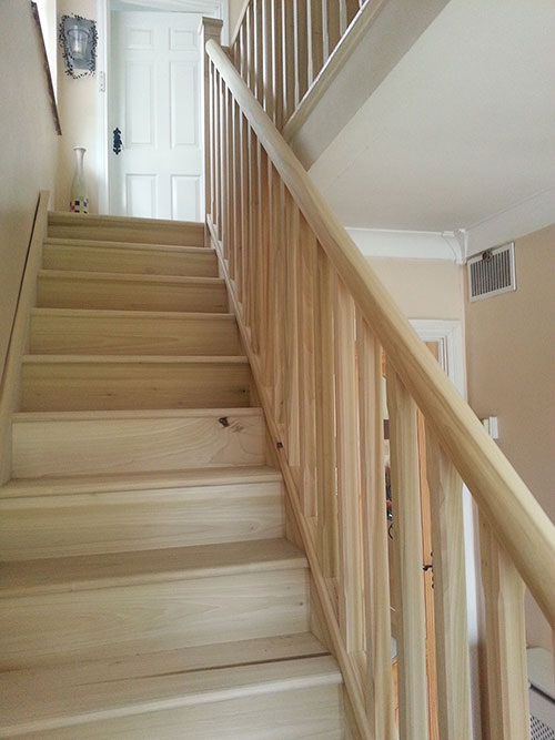 Tulipwood Stairs With Stepped Chamfer Detail And Round Handrail