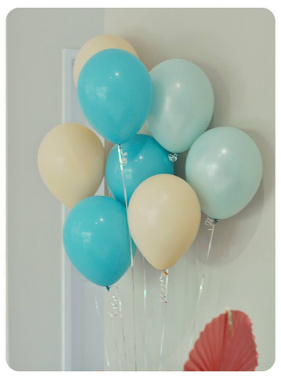 Helium balloons in Pool Party, Coastal Cabana and Crisp Canteloupe...