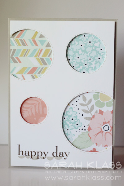 Stamps:    Petal Parade (SAB), Happy Day    Ink:    Sahara Sand, Early Espresso    Paper:   Sweet Sorbet DSP (SAB), Sahara Sand, Whisper White   Accessories:   Circles Collection Framelits, Sahara Sand Stampin' Write Marker, Stampin' Dimensionals