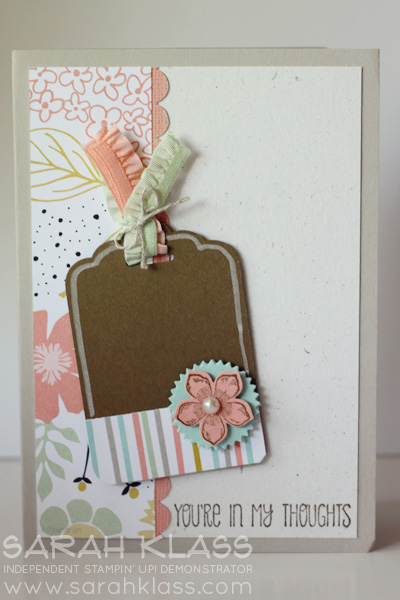 Stamps:    Petite Petals, A Dozen Thoughts    Ink:     Soft Suede    Paper:   Sweet Sorbet DSP (SAB), Sahara Sand, Naturals White, Soft Suede, Crisp Canteloupe Coredinations   Accessories:   Scallop Tag Topper Punch, Corner Rounder Punch, Scallop Edge Punch, Starburst Framelits, Petite Petals Punch, Stampin' Chalk Marker, Basic Pearls, Pistachio Pudding and Crisp Canteloupe Ruffle Stretch Trim, Linen Thread, Stampin' Dimensionals
