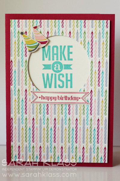 Stamps:   Perfect Pennants, Itty Bitty Banners   Ink:   Bermuda Bay, Cherry Cobbler   Paper:   Cherry Cobbler, Whisper White, Birthday Basics DSP   Accessories:   Circle Framelits, Bitty Banners Framelits, Stampin' Dimensionals