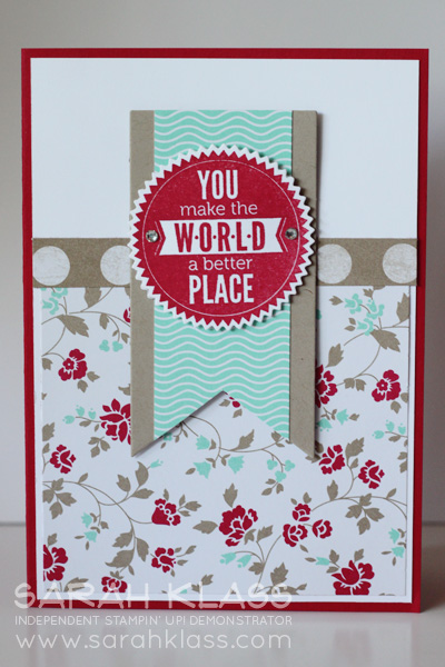 Stamps:    Starburst Sayings    Ink:    Real Red    Paper:    Real Red, Crumb Cake, Whisper White, Fresh Prints DSP Stack    Accessories:    Starburst Framelits, Banner Framelits,  Basics Jewels, Stampin' Dimensionals