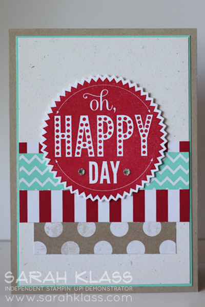 Stamps:    Starburst Sayings    Ink:    Real Red    Paper:    Real Red, Coastal Cabana, Naturals White, Crumb Cake, Whisper White, Fresh Prints DSP Stack    Accessories:    Starburst Framelits, Banner Framelits,  Basics Jewels, Stampin' Dimensionals