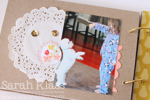 Another doily, more sequins and some simple journalling around another sweet co-ordinating die-cut