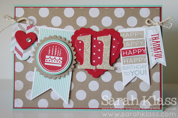 "Stamps: Amazing Birthday (coming soon!) Ink: Real Red, Crumb Cake, Coastal Cabana Paper: Coastal Cabana, Real Red, Crumb Cake, Whisper White, Brights DSP Stack, Fresh Prints Desginer Series Paper Stack (retiring), Silver Glimmer Paper Accessories: Typeset Alphabet Bigz Dies (retiring), Banners Framelits, Hearts a Flutter Framelits, Hearts Collection Framelits, 1-3/4"" Scallop Circle Punch, 1-3/8"" Circle Punch, 1-1/4"" Circle Punch, Small Heart Punch (retiring); Coastal Cabana, Real Red & Crumb Cake Stampin' Write Markers; Silver Baker's Twine, Basic Rhinestones,  Stampin' Dimensionals"