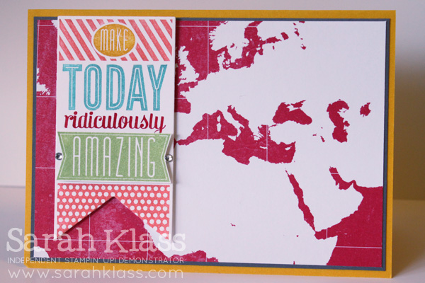 Stamps: Amazing Birthday (coming soon!) Ink: Wild Wasabi Paper: Crushed Curry, Basic Gray, Whisper White, I Am Me DSP (retiring) Accessories: Banner Framelits, Calypso Coral, Tempting Turquoise, Real Red & Crushed Curry Stampin' Write Markers; Basic Rhinestones, Stampin' Dimensionals