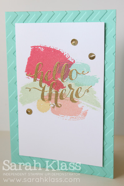 Stamps:    Work of Art, Hello There (hostess)    Paper:    Coastal Cabana, Whisper White    Ink:    Strawberry Slush, Coastal Cabana, Pistachio Pudding, Crisp Canteloupe, So Saffron, Versamark    Accessories:    Chevron Embossing Folder, Gold Embossing Powder, Sequin Trim