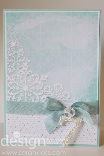 MDS:   Watercolored Winter Kit, Daily December Memories Kit, Season by Season Kit, Season of Cheer Stamp Brush Set, Basic Black Texture Stamp   Paper:   Pool Party, Whisper White   Accessories:   Soft Sky Seam Binding, Vintage Faceted Buttons, Whisper White Baker's Twine, Silver Glimmer Paper