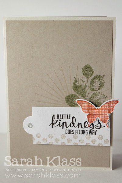 Stamps: Kinda Eclectic Paper: Naturals White, Crumb Cake, Whisper White Ink: Crumb Cake, Mossy Meadow, Tangelo Twist, Early Espresso, Versamark Accessories: Apothecary Accents Framelits, Elegant Butterfly Punch, Rhinestone Basic Jewels, Stampin' Dimensionals