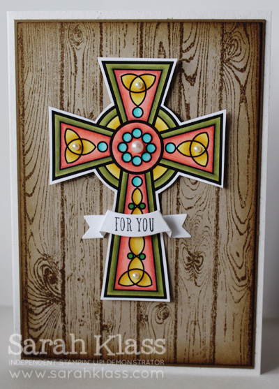 MDS download: Crosses of Hope Stamps: Hardwood, And Many More Paper: Naturals White, Soft Suede, Crumb Cake, Whisper White Ink: Soft Suede, Memento Tuxedo Black Accessories: Label Card Thinlits Die; Blendabilities: Daffodil Delight, Calypso Coral, Old Olive, Coastal Cabana; Pearl Basic Jewels, Stampin' Sponges, Stampin' Dimensionals