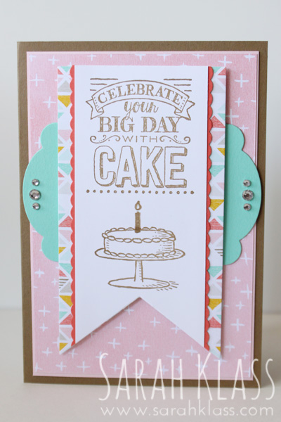 Stamps:   Big Day (SAB)   Paper:  Soft Suede, Blushing Bride, Coastal Cabana, Calypso Coral, Whisper White, Best Year Ever DSP (SAB)   Ink:   Soft Suede   Accessories:   Banners Framelits, Labels Collection Framelits, Dotted Scallop Ribbon Border Punch, Rhinestone Basic Jewels
