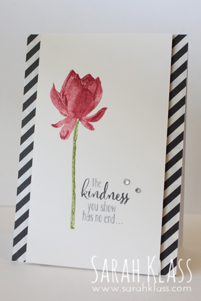 Stamps: Lotus Blossom (SAB) Paper: Whisper White, Typeset Specialty DSP Ink: Cherry Cobbler, Pear Pizzazz, Old Olive Accessories: Basic Black & Smoky Slate Stampin' Write Markers, Rhinestone Basic Jewels, Stampin' Dimensionals