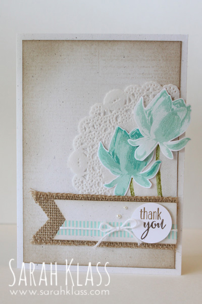 """Stamps:  Lotus Blossom (SAB), Dictionary  Paper:  Naturals White,Whisper White    Ink:  Pool Party, Coastal Cabana, Bermuda Bay,Crumb Cake  Accessories:  Tea Lace Doilies,Early Espresso & Soft Suede  Stampin' Write Markers, 1"""" Circle Punch, Burlap Ribbon, Whisper White Baker's Twine, Pearl Basic Jewels,Beach House Washi Tape, Stampin' Dimensionals"""