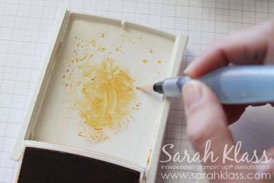 For the first layer of colour, just grab a small amount of ink from the edge of the puddle