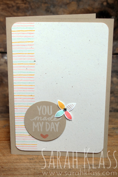 """Stamps: Best Day Ever Paper: Crumb Cake, Naturals Ivory, Whisper WhiteInk: Whisper White, Calypso Coral, Crisp Canteloupe, Crushed Curry, Coastal CabanaAccessories: Stampin' Write Markers, 1-3/4"""" Circle Punch, Project Life CornerPunch, Rhinestone Basic Jewels, Stampin' Dimensionals"""