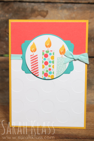 Stamps: Build a Birthday Paper: Crushed Curry, Whisper White, Watermelon Wonder, Bermuda Bay Ink: Watermelon Wonder, Pool Party, Crushed Curry, Pumpkin Pie Accessories: Deco Labels Framelits, Circles Collection Framelits, Polka Dot Embossing Folder, Pool Party Cotton Ribbon, Cherry On Top Washi Tape, Stampin' Dimensionals