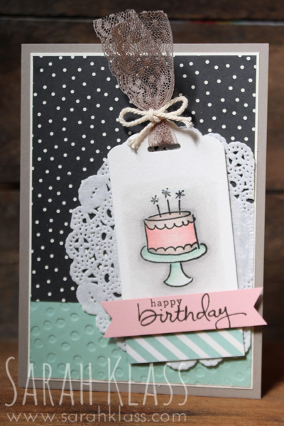Stamps: Endless Birthday Wishes Paper: Tip Top Taupe, Very Vanilla, Mint Macaron, Blushing Bride, Watercolor Paper, Pretty Petals DSP Stack Ink: StazOn Jet Black, Blushing Bride, Tip Top Taupe, Mint Macaron, Smoky Slate Accessories: Scallop Tag Topper Punch, Triple Banner Punch, Decorative Dots Embossing Folder, Aquapainters, Tea Lace Doily, Tip Top Taupe Dotted Lace Trim, Very Vanilla Thick Baker's Twine, Multipurpose Liquid Glue, Dazzling Dimaonds Glitter, Stampin' Dimensionals
