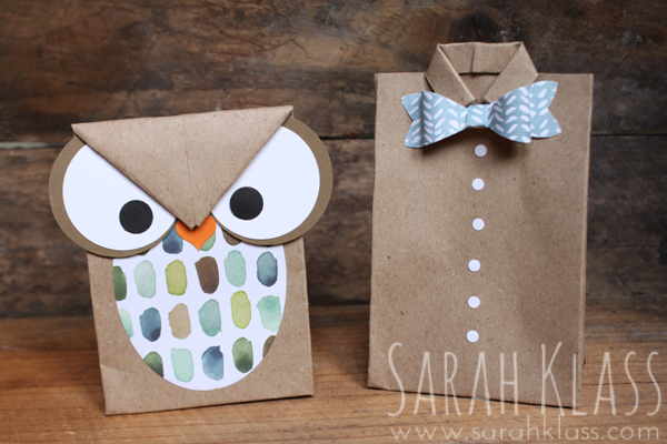 These novelty bags were created with a gusset using the Simply Scored Board so that they can stand up on their own, filled with treats!