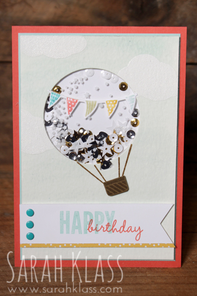 Stamps: Celebrate Today Paper: Calypso Coral, Pool Party, Whisper White, Soft Suede, Watercolour Paper, Cherry on Top DSP stack, Window Sheets Inks: Versamark, StazOn White, Pool Party, Calypso Coral, Soft Suede Accessories: Balloon Framelits, Tree Builder Punch, Triple Banner Punch, Bermuda Bay, Calypso Coral, Pear Pizzazz, Crushed Curry & Pool Party Markers, Brights Candy Dots, White Embossing Powder, Aquapainter, Metallics Sequin Assortment