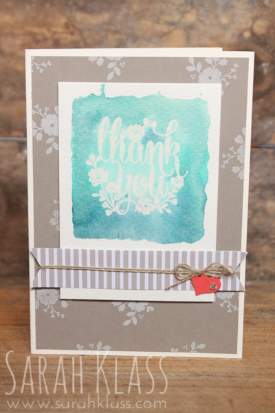 """Stamps: A Whole Lot of Lovely (Stampin' Rewards exclusive)Paper: Whipser White, Tip Top Taupe, Watermelon Wonder, Watercolor Paper, Cherry on Top DSP stack Ink: Versamark, Whisper White Craft Ink, Pool Party, Bermuda Bay, Island Indigo Accessories: Clear Embossing Powder, Triple Banner Punch,Itty Bitty Accents Punches, 1/16"""" Circle Punch,Linen Thread,Rhinestone Basic Jewels, Clear Block, Stampin' Spritzer"""