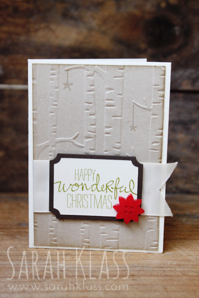 Stamps: Wondrous Wreath, Holly Jolly Greetings Paper: Crumb Cake, Very Vanilla Ink: Crumb Cake, Old Olive Accessories: Very Vanilla Envelope, Tags and Labels Framelits, Very Vanilla Subtle Stripes Satin Ribbon, Home for Christmas Designer Buttons, Stampin' Dimensionals