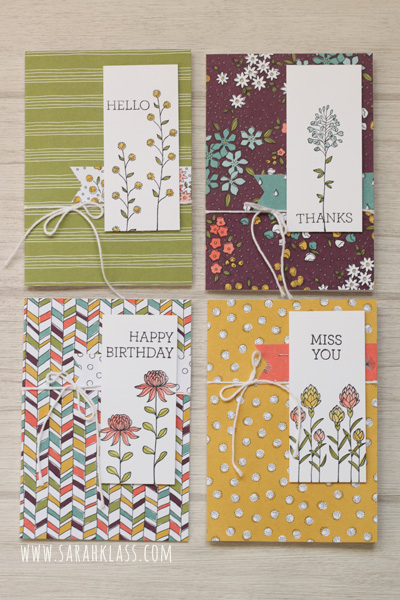 Stamps: Flowering Fields (SAB), Crazy About You Paper: Whisper White,Wildflower Fields (SAB) Ink: Basic Black Archival, Hello Honey, Old Olive, Lost Lagoon, Calypso Coral Accessories: Whisper White Note Cards & Envelopes, Whisper White Baker's Twine, Blender Pens, Stampin' Dimensionals