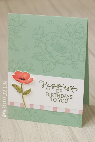 Stamps: Birthday Blooms Paper: Mint Macaron, Whisper White, Birthday Bouquet DSP, Watercolour PaperInk: Mint Macaron, Sahara Sand, Mossy Meadow, Blushing Bride, Calypso Coral, Pear Pizzazz, Old OliveAccessories: Aquapainter, Basic Black Stampin' Write Marker