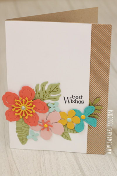 Stamps: Botanical Blooms, Petite Pairs Paper: Whisper White, Shine On Specialty DSP, Calypso Coral, Crushed Curry, Pear Pizzazz, Pool Party, Blushing Bride, Bermuda BayInk: Old Olive, Basic Black ArchivalAccessories: Botanical Builder Framelits, Rhinestone Basic Jewels, It's My Party Enamel Dots, Stampin' Dimensionals