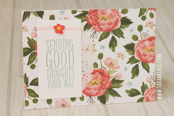 Stamps: Perfect Pennants, Birthday Blooms Paper: Birthday Bouquet Designer Series Paper, Whisper White Ink: Mint Macaron, Blushing Bride, Watermelon Wonder Accessories: Tea Lace Doilies, It's my Party Enamel Dots