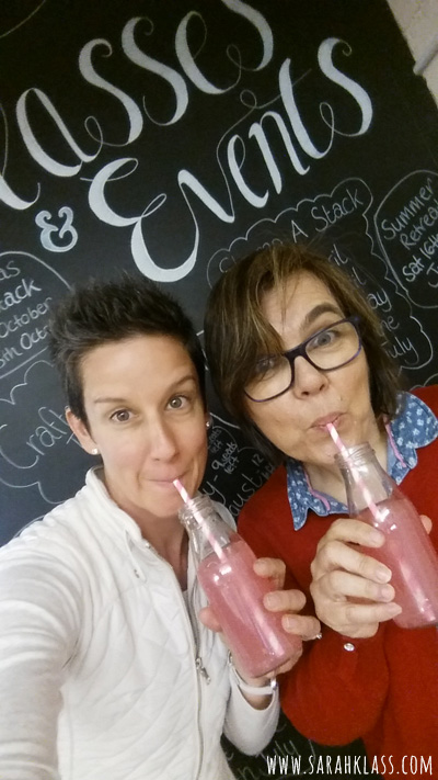 Pink lemonade in The Paper Haven studio the afternoon that I arrived in the UK!