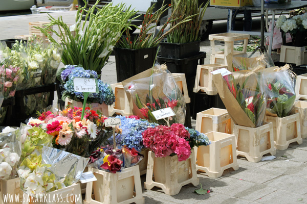 Pretty flower market along the old port area in Marseilles