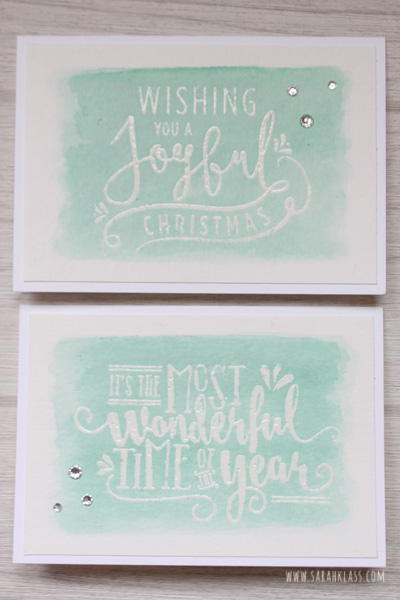 Stamps: Wonderful Year Paper: Watercolor Paper Ink: Versamark, Pool Party Accessories: Whisper White notecards & envelopes, Clear embossing powder, heat tool, Aquapainter, Rhinestone basic jewels