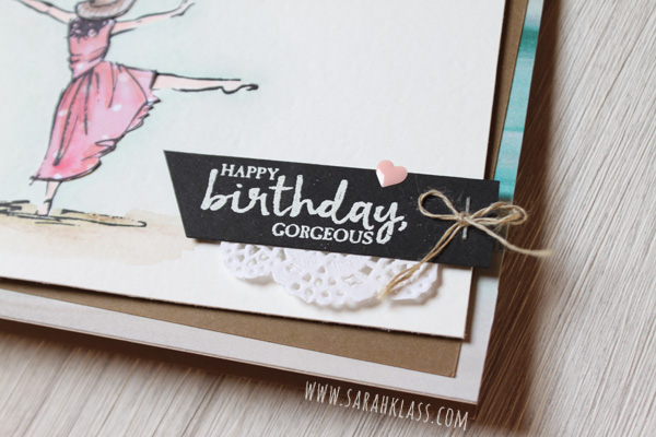 A lovely little cluster for the birthday greeting is made up of some white embossing, a sliver of Linen Thread, a dash of doily and an enamel heart shape from the Subtles collection