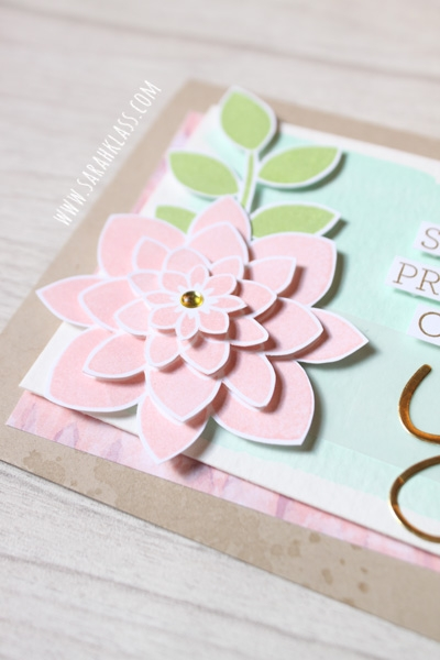 Lots of lovely {pink!} layers, achieved by stamping the same flower image four separate times in Blushing Bride, then cutting out around the graduating white borders and stacking them on top of each other