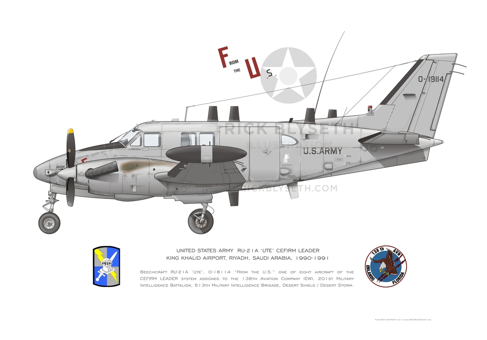 U.S. ARMY RU-21A  R.BLYSETH ©2014  PRINT WILL NOT HAVE VISIBLE WATERMARK