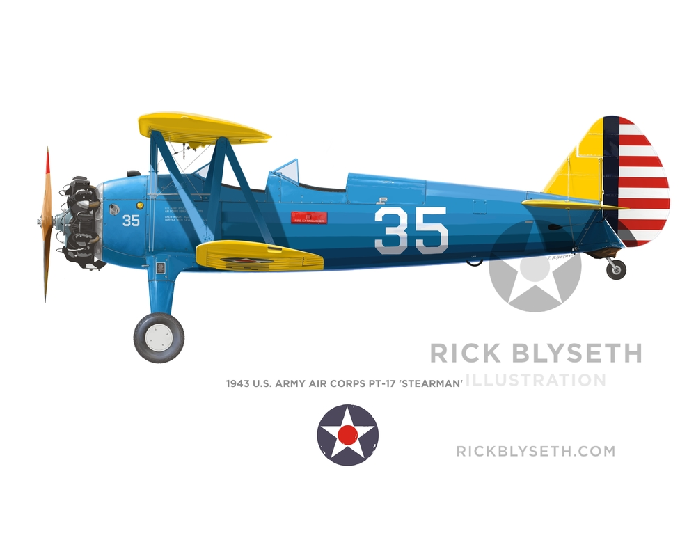1943 PT-17 STEARMAN R.BLYSETH ©2014 PRINT WILL NOT HAVE VISIBLE WATERMARK
