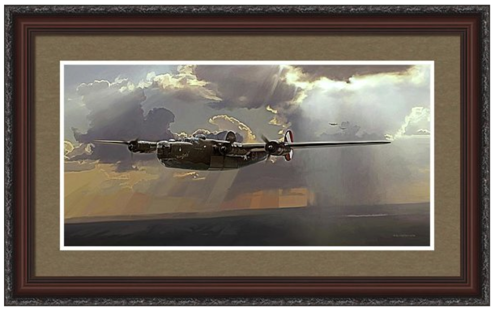 'THE BOMBER BOYS'  R.BLYSETH © 2016  SAMPLE FRAME AND MATTING.  PRINT DOES NOT COME FRAMED OR MATTED.