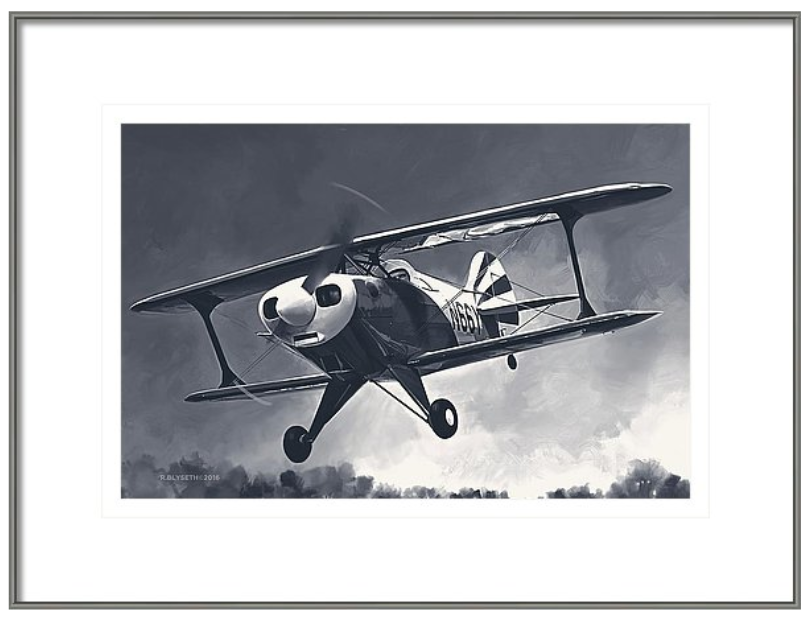 'FIRST FLIGHT OF SIX SIX YANKEE'  R.BLYSETH © 2016  SAMPLE FRAME AND MATTING.  PRINT DOES NOT COME FRAMED OR MATTED.