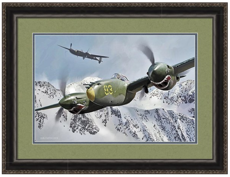 'ATTU ATTACK'  R.BLYSETH © 2014.  SAMPLE FRAME AND MATTING.  PRINT DOES NOT COME FRAMED OR MATTED.