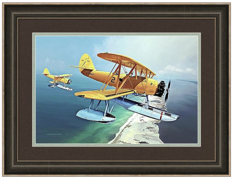 'PENSACOLA PERILS'  R.BLYSETH © 2015  SAMPLE FRAME AND MATTING.  PRINT DOES NOT COME FRAMED OR MATTED.