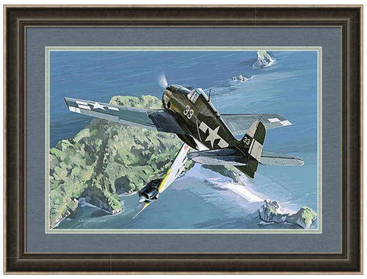 'OKINAWA HELLCAT'  R.BLYSETH © 2016  SAMPLE FRAME AND MATTING.  PRINT DOES NOT COME FRAMED OR MATTED.
