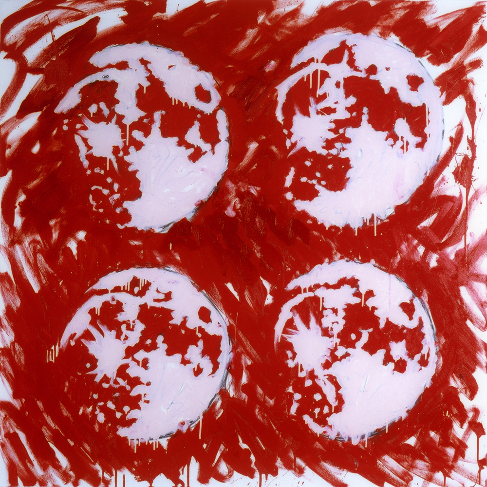 Quattro Lune Rosse (Four Red Moons) 120 x 120 cm., charcoal crayon, oil and glazes on canvas, 2001