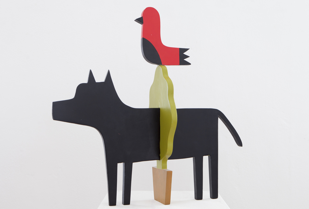 %22Dog,plant and bird%22, 70x70x70, painted wood, 2015 .jpg