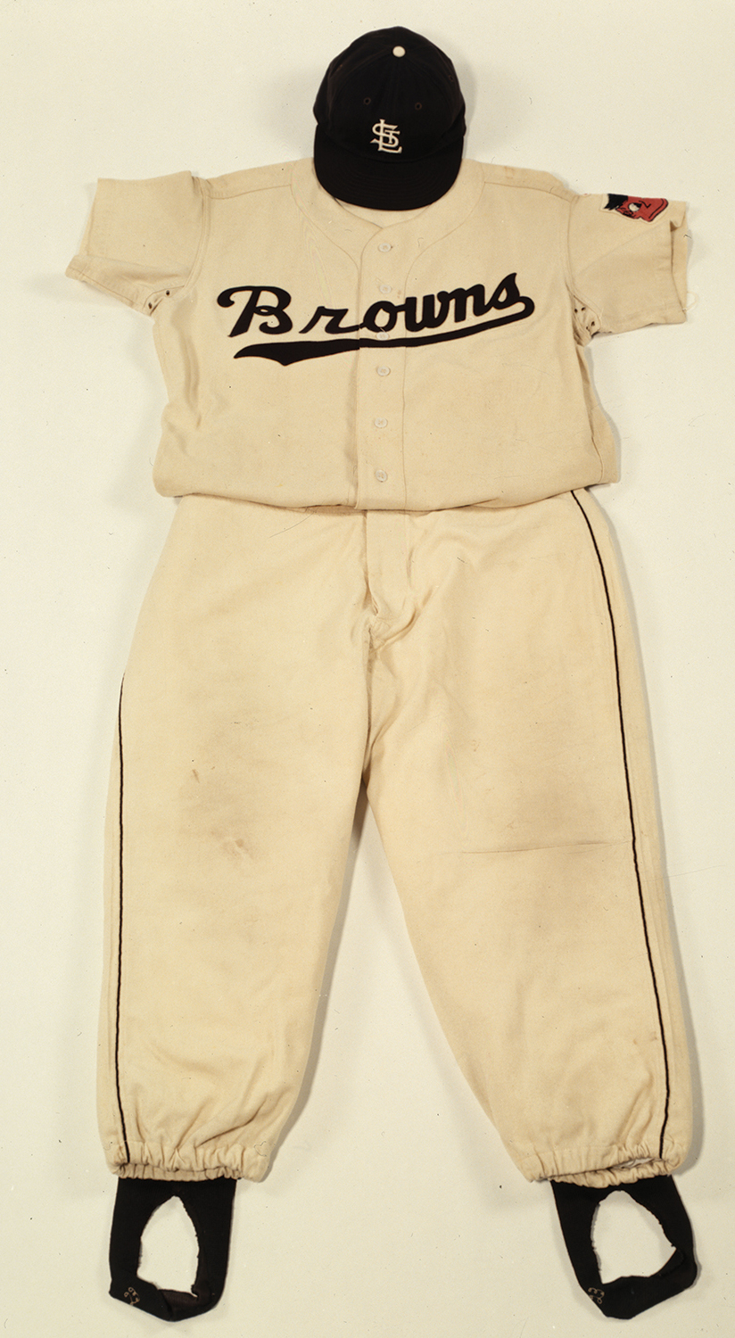 St. Louis Browns baseball uniform worn by right fielder Jim Delsing, 1952. Photograph by David Schultz, 1999. Missouri History Museum.