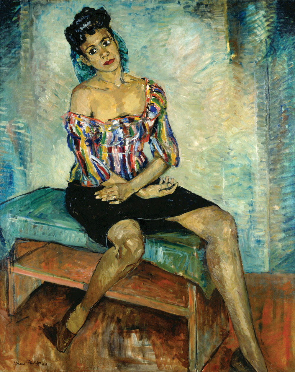 Oil portrait of Katherine Dunham by German-born artist Werner Philipp, showing Dunham in costume, possibly after a performance.   1943. Missouri History Museum.