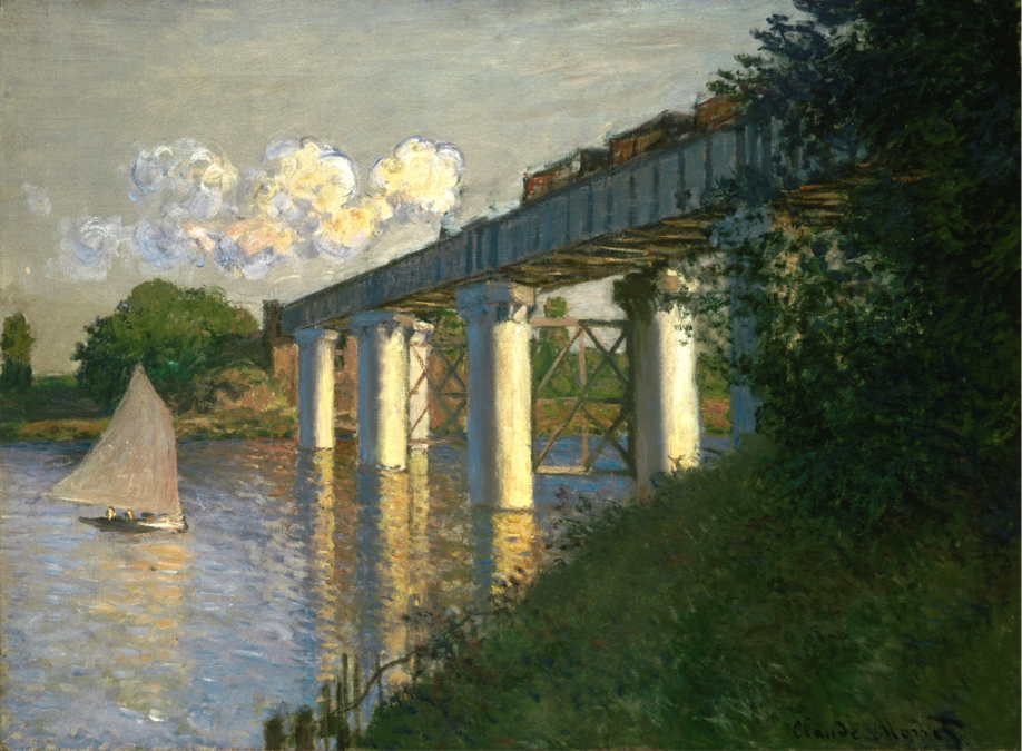 Claude Monet, French, 1840–1926; Railroad Bridge, Argenteuil, 1874; oil on canvas; 21 3/8 x 28 7/8 inches; Philadelphia Museum of Art, John G. Johnson Collection, 1917, Cat. 1050